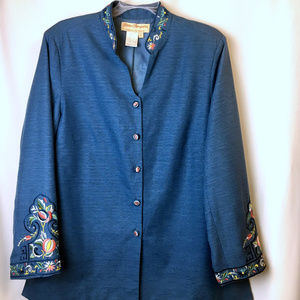 Norm Thompson Jackets & Coats - Silk Embroidered Jacket Blazer New